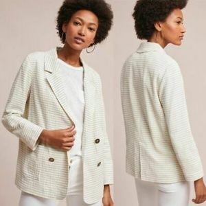 Anthropologie Cartonnier white stripe blazer